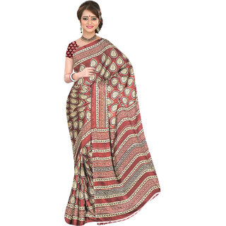 Khoobee Maroon & Cream Jacquard Printed Saree With Blouse