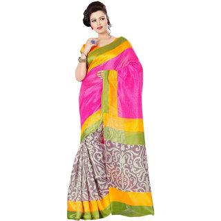 Khoobee Presents Printed Bhagalpuri Silk Saree(Pink,Multi)  Ktsjbs26