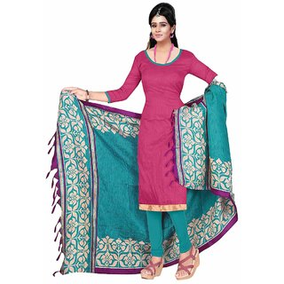Parisha Pink Art Silk Printed Salwar Suit Dress Material (Unstitched)