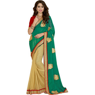 Jiya Beige Chiffon Embroidered Saree With Blouse