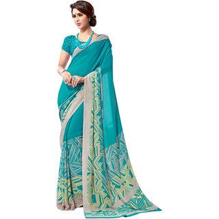 Jiya Blue Georgette Printed Saree With Blouse