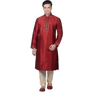 Classy Red Art Silk Kurta Pyjama For Men