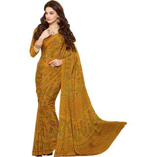 Jiya Yellow Crepe Printed Saree With Blouse