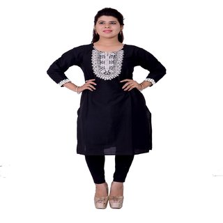 Shanaya black color cotton embrodery on front and sleeve kurti for women
