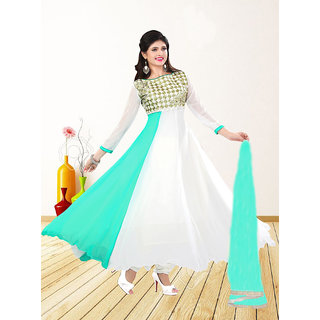 Fabliva WHITE  AQUA EMBROIDERED GEORGETTE ANARKALI SUIT
