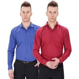 Regalfit Combo of Royal Blue  Mehroon Formal Shirts Pack of 2