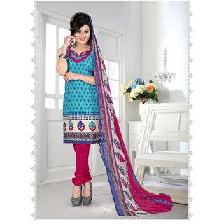 Thankar Sky  Pink Printed Crepe Dress Material