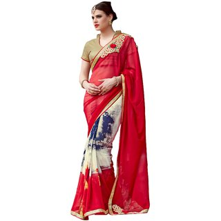 Liberty Lifestyle Designer Red and White Color Embroidery Work Georgette Saree