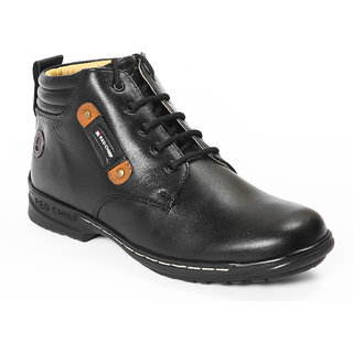 Red Chief Black Men High Ankle Casual Leather Shoes (RC6011 001)