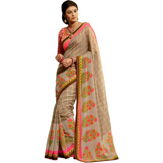 Jiya Presents Lenon Silk Saree(Beige,Multi)  Btvsddym814
