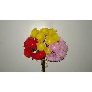 Organdy fabric artificial 30 rose flowers set.