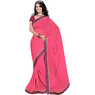 Khoobee Pink Georgette Printed Saree With Blouse