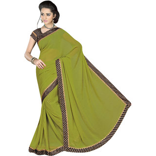 Khoobee Green Georgette Printed Saree With Blouse
