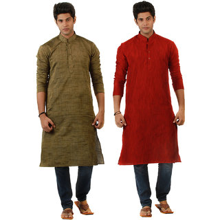 Amora Designer Ethnic Red and Rust Solid Kurtas (Pack of 2) For Men