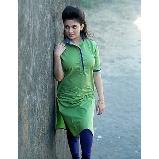 Stylist Green Simple Cotton Plain Kurti