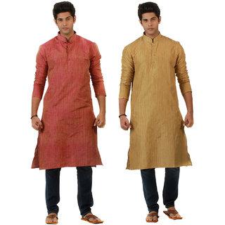 Amora Designer Ethnic Golden Yellow and Pink Solid Kurtas (Pack of 2) For Men