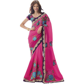 Heart N Soul Bollywood Designer Chiffon Embroidery Wedding with huge discount (Pink)