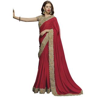 Heart N Soul Bollywood Designer Chiffon Embroidery Wedding (Red)