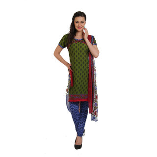 Parchayee Green Crepe Printed Unstitched Dress Material
