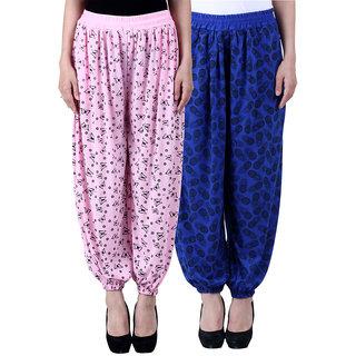 NumBrave Printed Viscose Light pink  Blue Harem Pants (Pack of 2)