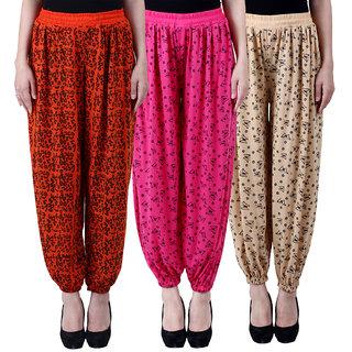 NumBrave Printed Viscose Orange  Pink  Beige Harem Pants (Pack of 3)