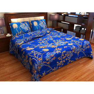 Factorywala Premium Cotton Floral Print Blue Colour Double Bed Sheet with 2 Pillow Covers