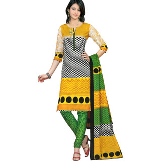 Parchayee White Synthetic Printed Unstitched Dress Material
