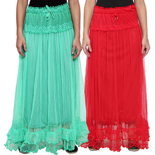 NumBrave Green  Red Long Flared Skirt (Pack of 2)