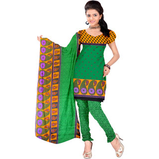 Parchayee Green Synthetic Printed Unstitched Dress Material