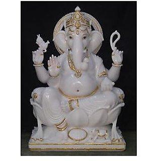 White Lord ganesha Sculptureindia Marble Statue Handmade RS EHS Idol Murti God
