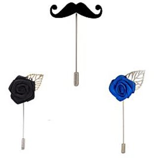 Verceys Combo Of Mustaches  Black Rose And Blue Rose Lapel Pin - Pack Of 3 Brooches