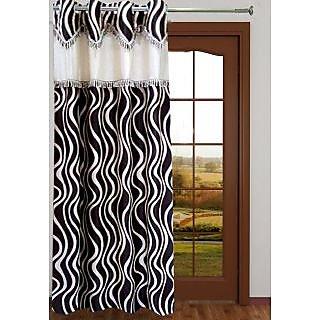 Designer Waves Brown Window Curtain