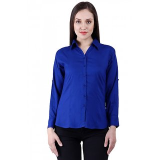 NumBrave RoyalBlue Rayon Solid Formal Shirt