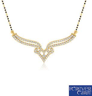 0.40ct Natural White Diamond Mangalsutra 925 Sterling Silver Mangalsutra M-0031