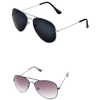 Closer Black Aviator Sunglasses For Men  Women-Combo-Xz247-1035A