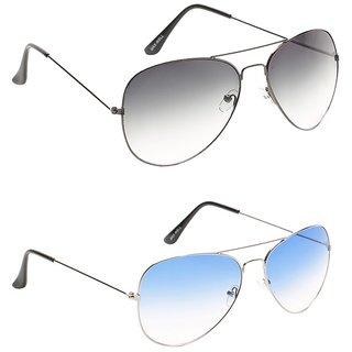 Closer Gray Aviator Sunglasses For Men  Women-Combo-Xz247-207A