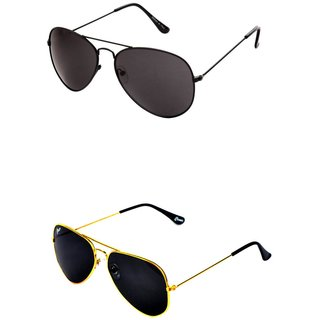 Closer Black Aviator Sunglasses For Men  Women-Combo-Xz260-215A