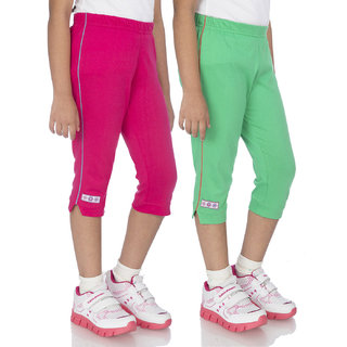 OCEAN RACE Girls Stylish Cotton Capris (3/4 Th Pant)-Pack of 2-Hot pink / Green