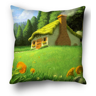 Beautiful Hut LandScape  Cushion Cover