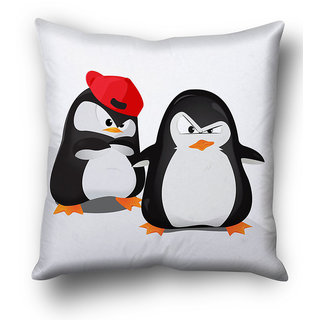 Cute Penguin Pair Cushion Cover