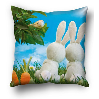 Cute Rabbit Couple Cushion Cover