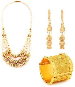 Beaded pearl mala with Gold plated kaan chain earrings and kada by GoldNera
