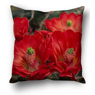 Red Flower Background Cushion Cover