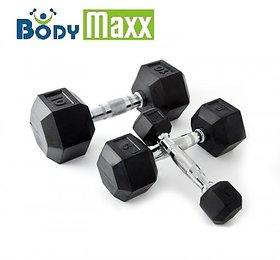 Body Maxx 5 Kg Hex Dumbells X 1 Pair. Rubber Hex Dumbells 5 Kg Each X 2 No