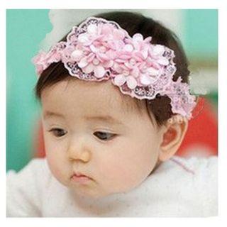 BabyZinnia BabyGirl Newborn Chiffon Rosette Bow Soft Elastic Headband With Pearl Embellishment.Kids Hair Accessory