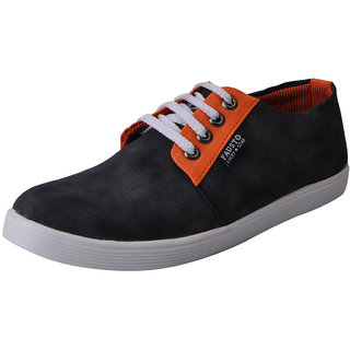 Fausto MenS Black Sneakers Lace-Up Shoes (FST 1664 BLACK)