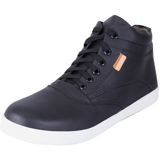 Fausto MenS Black Sneakers Lace-Up Shoes (FST 3003 BLACK)