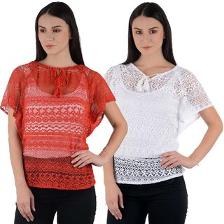 Westrobe Womens Red n White Cotton Crochet Top Combo of 2