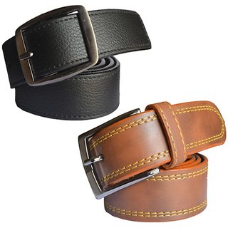 Sunshopping Leatherite Mens Belt Pin-Hole Buckle Black Brown (Pack Of 2) (Synthetic leather/Rexine)
