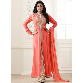 Touch Trends Peach Embroidered Dress Material for Women (Unstitched)